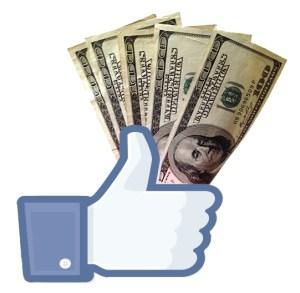 Facebook like button cash