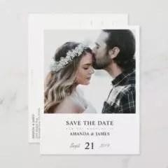 Wedding Save The Dates.Minimalist Chic Custom Photo Wedding Save The Date Postcard