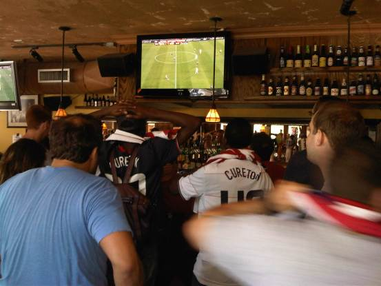 Watching the USA v Slovenia World Cup match at the Village Pourhouse, NYC