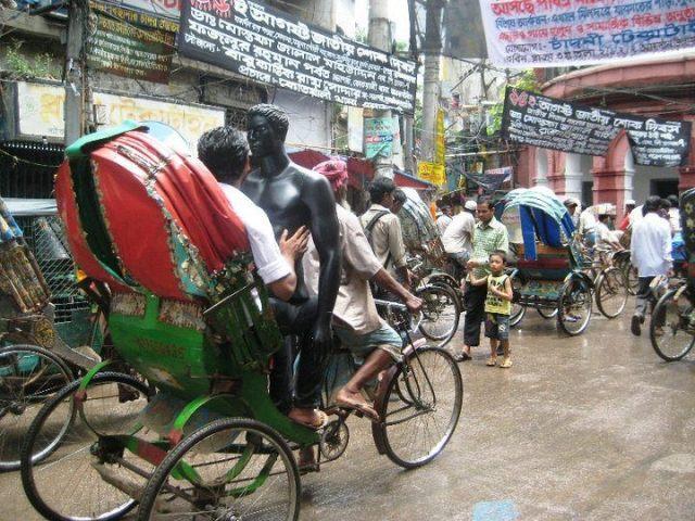 Rickshaws powering through the streets.