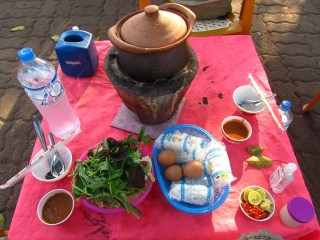 Street-Side Hot Pot Dining in Laos
