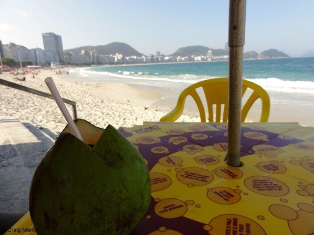 Drinking from a coconut on Copacabana (photo: Craig Martin)