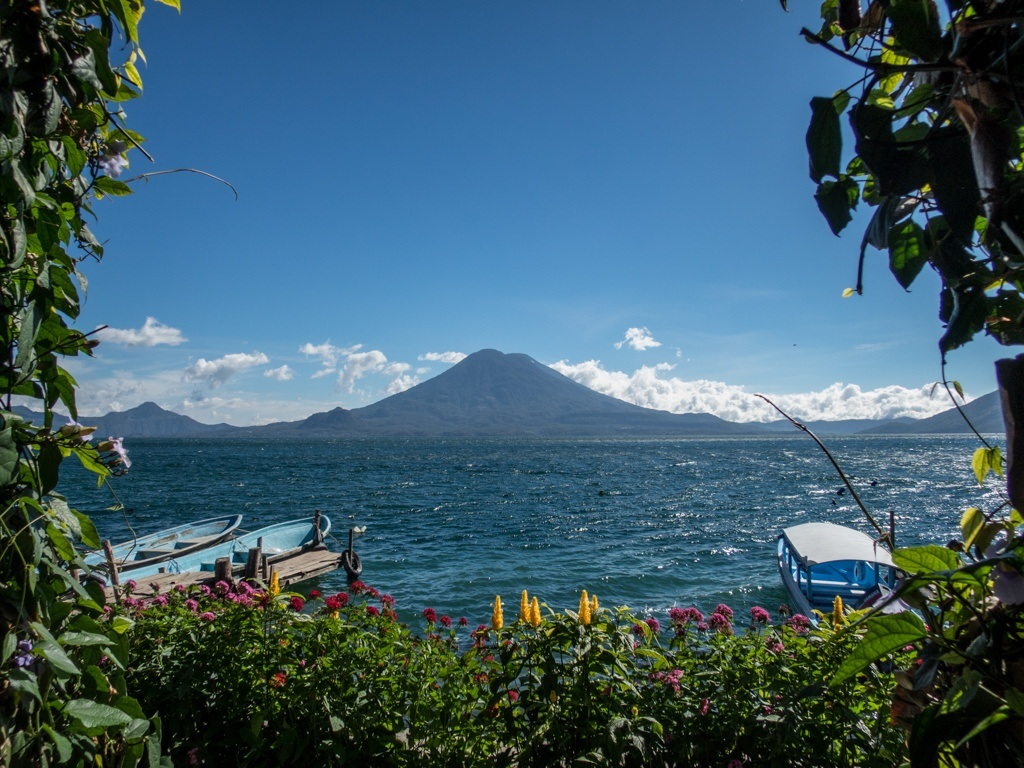 View of a volcano and Lake Atitlan from La Iguana Perdida