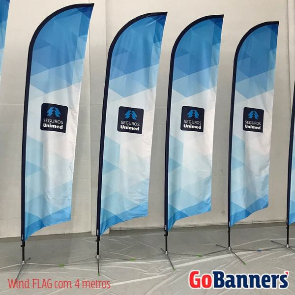 Wind Banner FLAG com 4 metros- UNIMED