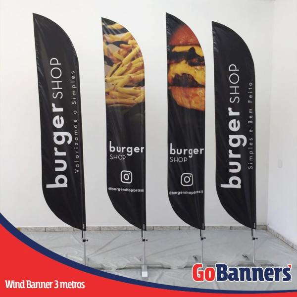 wind flag banner com 3 metros burger shop hamburgueria