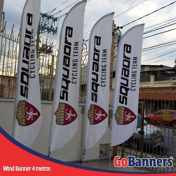 wind flag banner com 4 metros cycling team