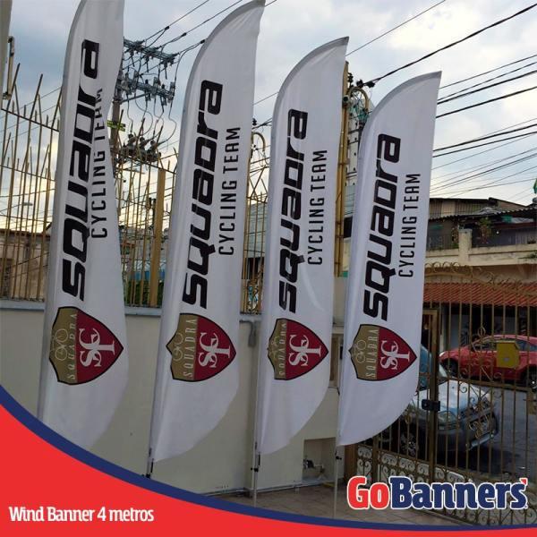 wind flag banner com 4 metros cycling team
