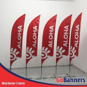 wind flag banner com 2 metros aloha