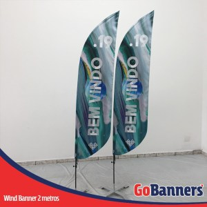 wind flag banner com 2 metros bem vindo