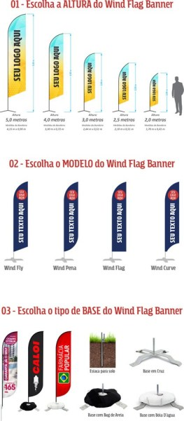 Tamanho, Modelo e Bases dos Wind Banners - GoBanners