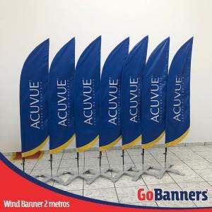 Wind Banner com 2 metros personalizado para acuvue lentes de contato