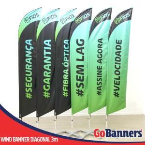 Wind Banner com 3 metros personalizado para FI FIOS fibra ótica internet