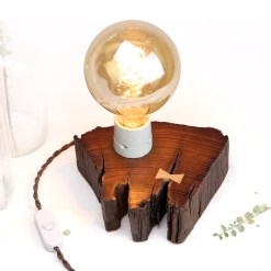 Salvaged, dark wood table lamp with light butterfly joint - Osram Vint. Globe
