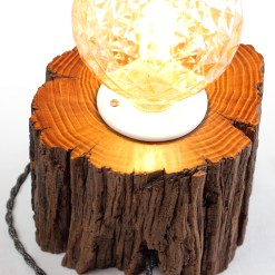 Desk lamp from salvaged, dark solid wood - Osram Vint. Pinecone