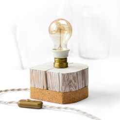 Barn beam desk lamp, with vintage socket and cork bottom - Edison style A60