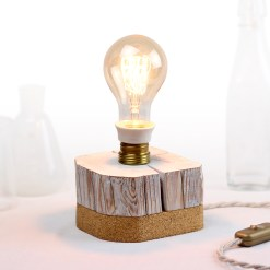 Barn beam desk lamp, with vintage socket and cork bottom - Edison style A75