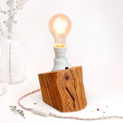 Oblique barn beam table lamp, with vintage porcelain socket - Edison style A75