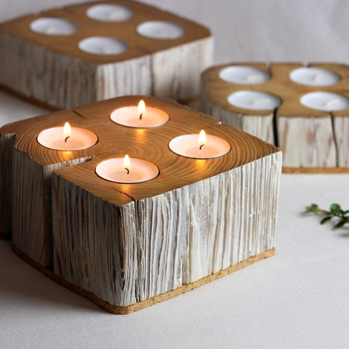 4 tealights candle holder from salvaged barn beam