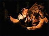 Sitio Oficial La Courona de Espiritu Santo Arte Oleo Sobre Lienzo -Rembrandt - Escena de Evangelio de San Lucas Luke Capitulo 16 Versiculo 19 a 31