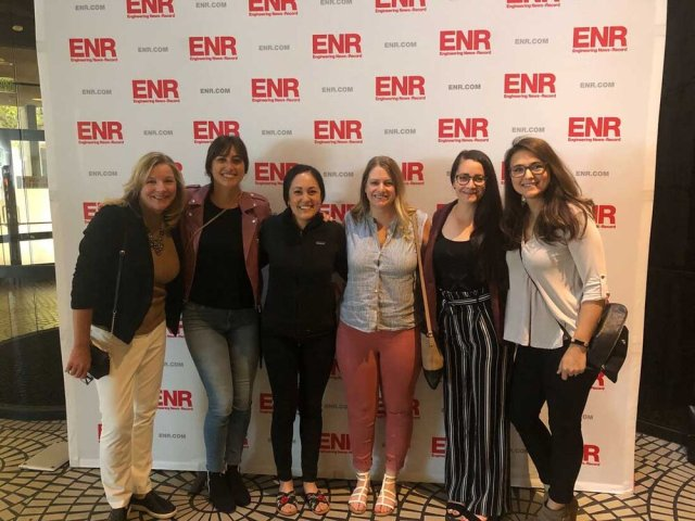 Bridgit Co-Founders Mallorie Brodie (2nd from left) and Lauren Lake (3rd from left) after hosting a Breakfast With Bridgit for other female leaders in the construction industry.