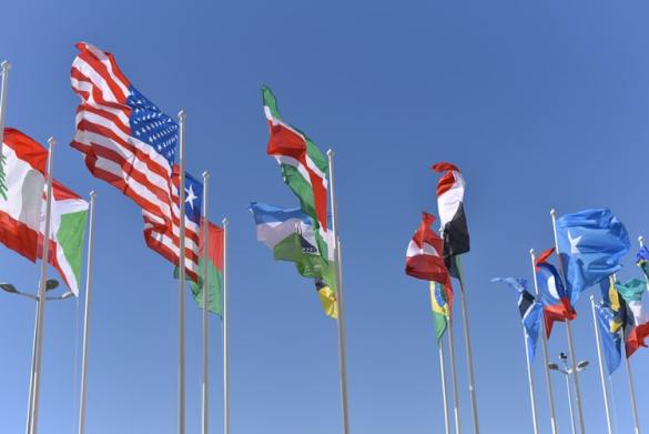 International flags represent diversity in the U.S.