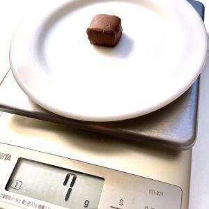 ブラックサンダーひとくちサイズ 糖質50%OFFの重さ計測