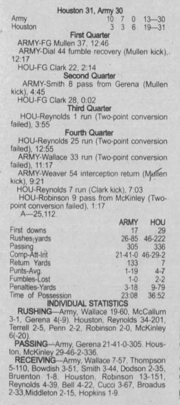 Army box score - 9/16/2001