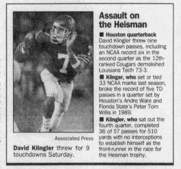 David Klingler assault on Heisman 9-1-91 EPTimes