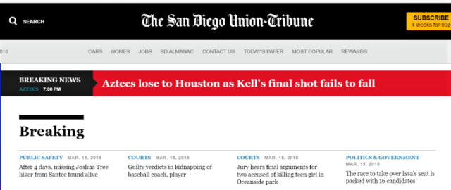 Breaking News San Diego Union Tribune
