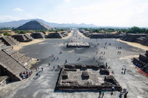 View from the top of the Pyramid of the Moon, back along the Avenue of the Dead