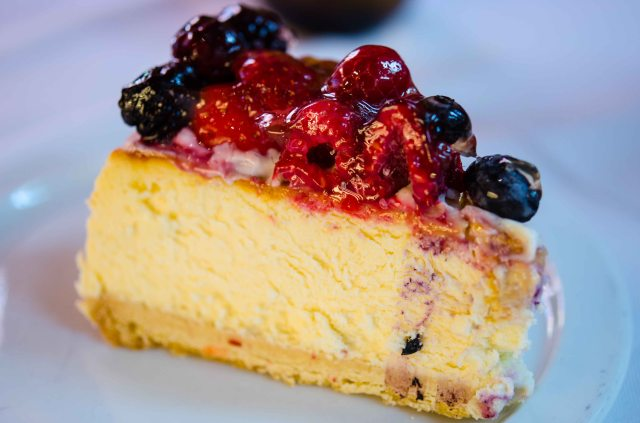Cheese Cake with Berries (There is only one slice because we ate the rest!)