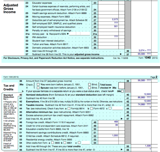 2015 Form 1040 Adjustments, Deductions, & Credits
