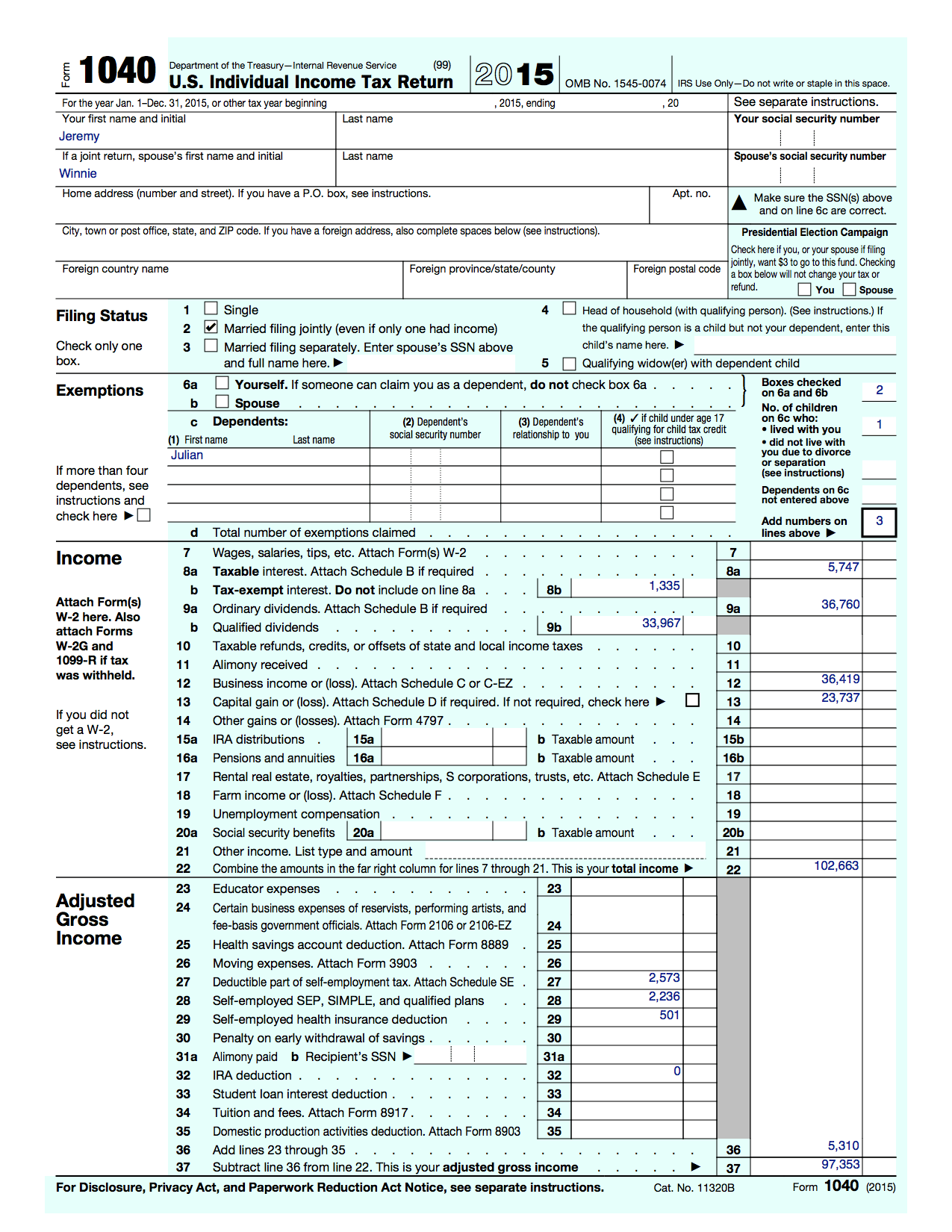 Our 1040 Form 1040 as it appears in Turbo Tax.