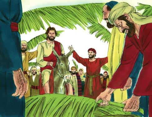 Jesus riding into Jerusalem.  Copyright: Free Bible Images