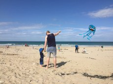 Flying kites on the beach