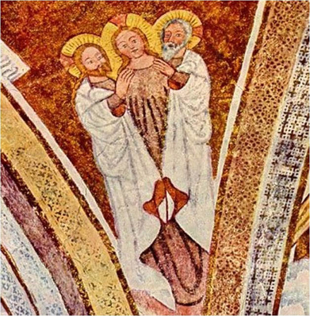 A 14th-Century fresco, left, in small Catholic church southeast of Munich, West Germany, depicts a female Spirit as part of Holy Trinity