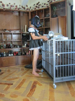 Cleaning up after filming, as any good sissy maid should.