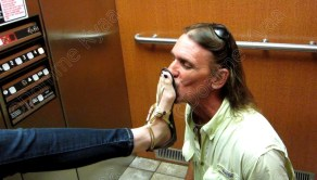 Kissing my shoes in the elevator.