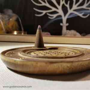 incense cone holder, incense holder, incense burner, incense cones, lotus flower, sacred space, cleansing, set the mood, flower of life