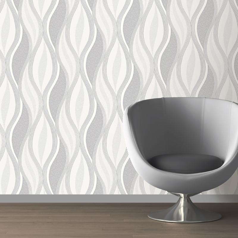 Direct Wallpapers Wave Glitter Wallpaper Grey