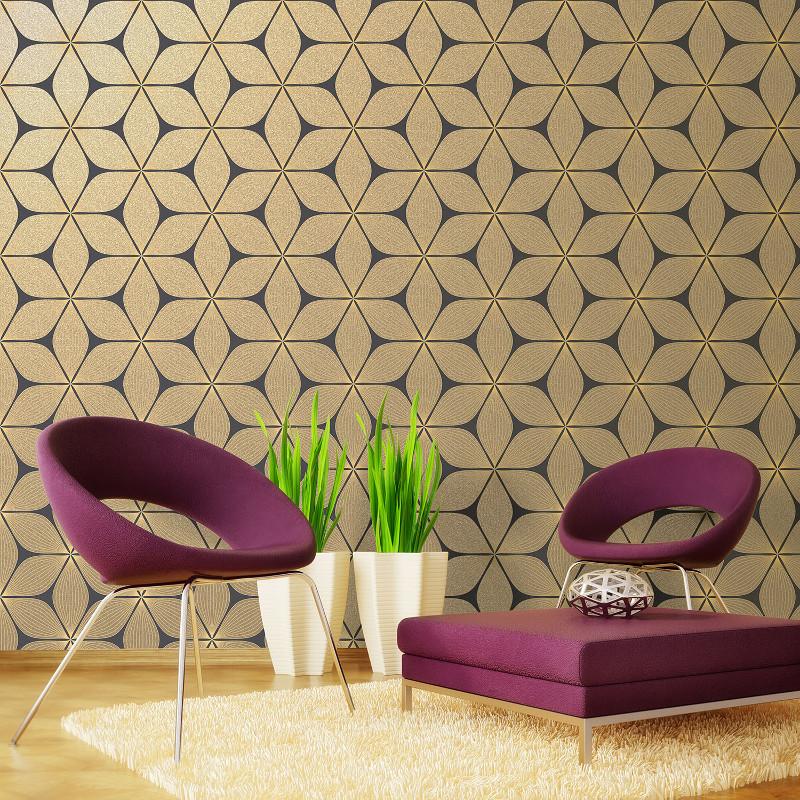 Coloroll Vibration Glitter Wallpaper Black And Gold