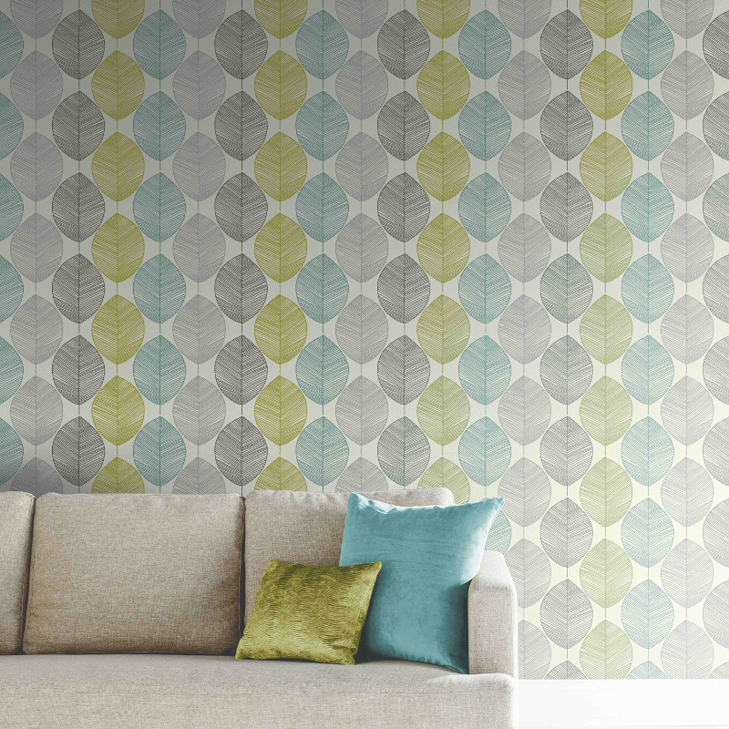 Arthouse Retro Leaf Wallpaper Teal And Green Go
