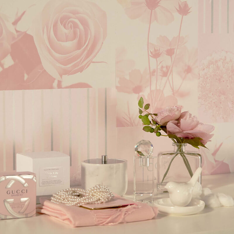Coco Floral Art Soft Pink Wallpaper Crown Wallpaper