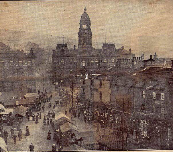 early photograph of Dewsbury Market Place and Town Hall