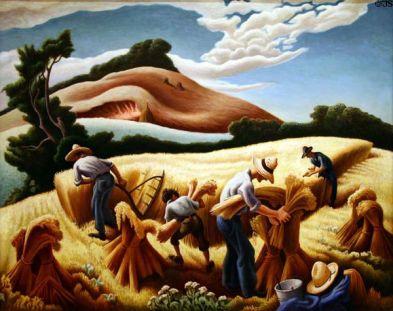 cradling wheat