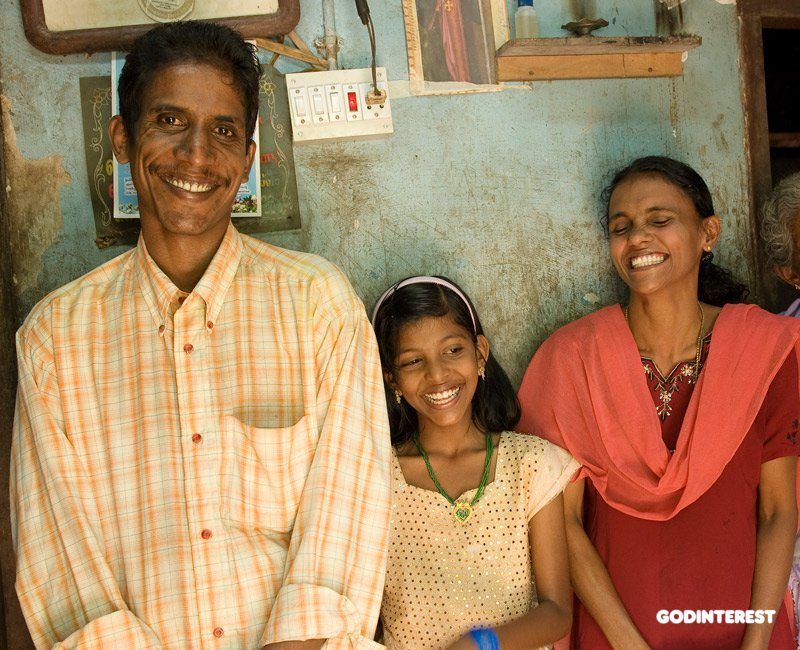 Here you see a family that has been transformed through the love of God. This man used to beat his wife and child, but after listening to KP Yohannan's words through a GFA-supported radio broadcast, they found God's love and are living happily in their journey with Christ.