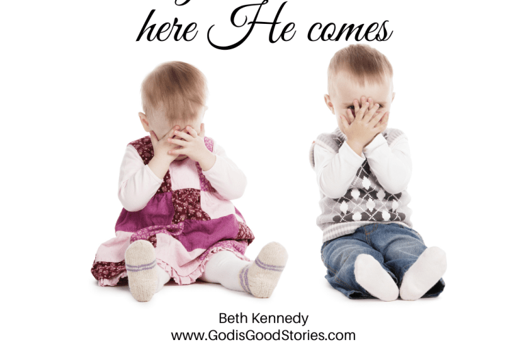 Two toddlers sitting on the floor covering their eyes. Text reads: Ready of not... here he comes.