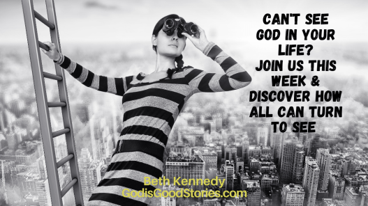 Image of woman hanging high in air hanging off ladder looking through binoculars with city scape behind with words Can't see God is your life