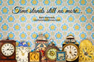 Multiple shaped clocks against blue and yellow patterned wallpaper background with words 'Time stands still no more...'