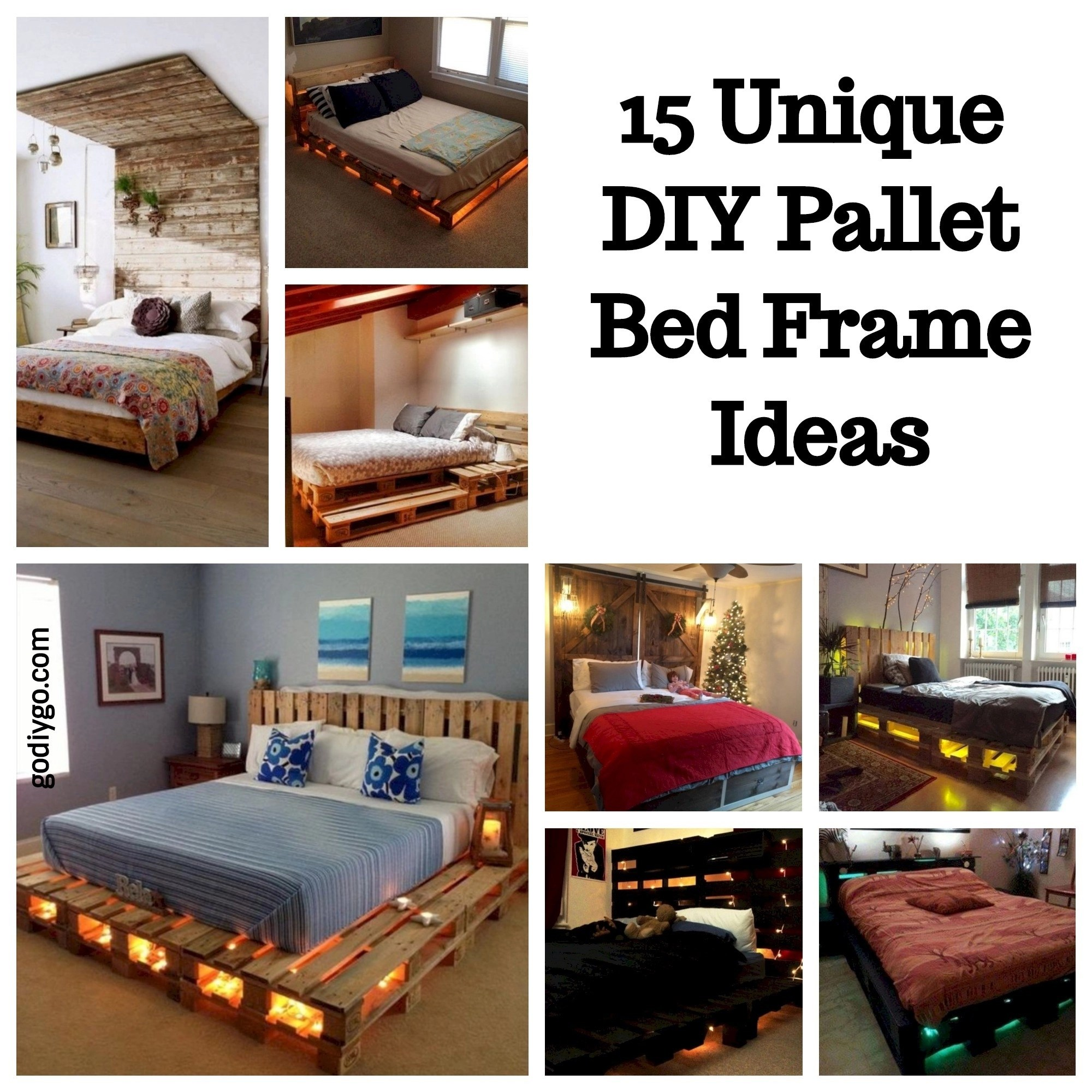 15 Unique DIY Pallet Bed Frame Ideas - GODIYGO.COM